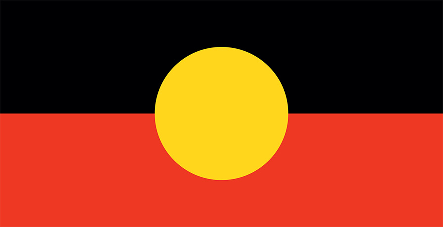 The Australian Aboriginal flag: the upper half black and lower red. A yellow circle sits in the centre.